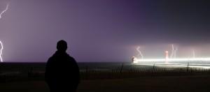 Lightning Strikes over Lake Michigan